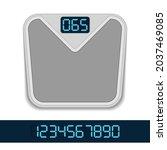 digital bathroom weight scale...   Shutterstock .eps vector #2037469085