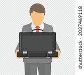 man holding open empty suitcase....   Shutterstock .eps vector #2037469118