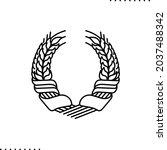 framing ears of wheat  heraldry ... | Shutterstock .eps vector #2037488342
