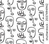 one line drawing women seamless ...   Shutterstock .eps vector #2037494942