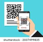 qr code scan to smartphone for... | Shutterstock .eps vector #2037499835