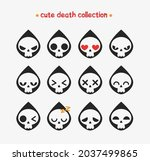 collection of cute death faces. ... | Shutterstock .eps vector #2037499865