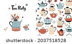 tea party seamless pattern and... | Shutterstock .eps vector #2037518528