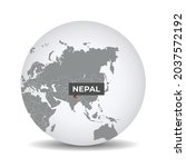 world globe map with the... | Shutterstock .eps vector #2037572192