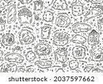sushi rolls vecto seamless... | Shutterstock .eps vector #2037597662