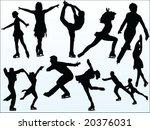 figure skating silhouette... | Shutterstock .eps vector #20376031