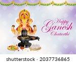 illustration of lord ganpati... | Shutterstock .eps vector #2037736865