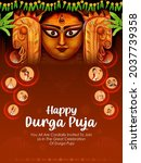 illustration of goddess durga... | Shutterstock .eps vector #2037739358