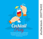 cocktail party two hands... | Shutterstock . vector #203776432
