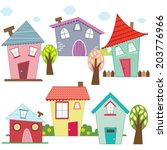 cute houses and homes   Shutterstock .eps vector #203776966