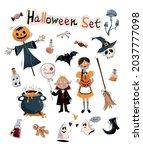 halloween vector set.happy...   Shutterstock .eps vector #2037777098