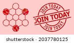 scratched join today stamp  and ... | Shutterstock .eps vector #2037780125