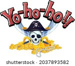 pirate concept with yo ho ho...   Shutterstock .eps vector #2037893582