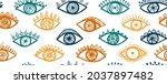doodle open eyes vintage...   Shutterstock .eps vector #2037897482