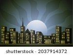 night city urban skyscraper... | Shutterstock .eps vector #2037914372