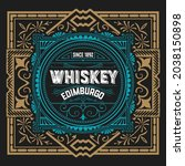 whiskey label with old frames   Shutterstock .eps vector #2038150898