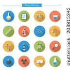 flat science icons | Shutterstock .eps vector #203815342