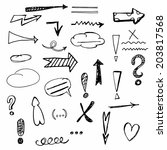 hand drawn arrows and signs set | Shutterstock .eps vector #203817568