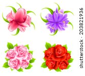 vector flowers set of rose ... | Shutterstock .eps vector #203821936