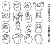stress line icons set on white... | Shutterstock . vector #2038300268