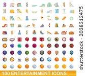 100 entertainment icons set....   Shutterstock .eps vector #2038312475