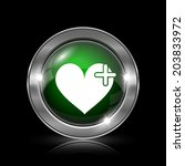 silver and green glossy icon on ... | Shutterstock . vector #203833972