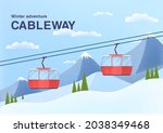 cable car in mountains.... | Shutterstock .eps vector #2038349468
