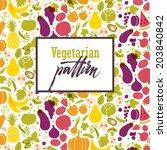 fruit and vegetable rainbow... | Shutterstock .eps vector #203840842