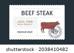 beef steak vintage label. meat... | Shutterstock .eps vector #2038410482