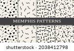 set of memphis style seamless... | Shutterstock .eps vector #2038412798