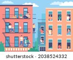 modern city buildings and happy ... | Shutterstock .eps vector #2038524332