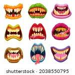 cartoon monster mouth  teeth...   Shutterstock .eps vector #2038550795