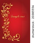 gold flowers on red background   Shutterstock .eps vector #20385556