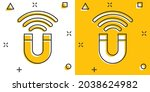 magnet icon in comic style.... | Shutterstock .eps vector #2038624982
