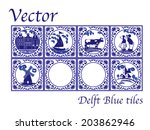 Vector Delft Blue Dutch Tiles...