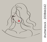fashion lady simple sketch | Shutterstock .eps vector #203866162