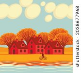 autumn landscape with yellowed... | Shutterstock .eps vector #2038677968