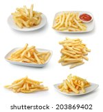 French Fries Isolated On White...
