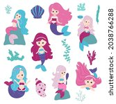 set mermaids. colorful... | Shutterstock .eps vector #2038766288