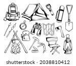set of equipment for tourism....   Shutterstock .eps vector #2038810412