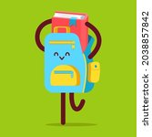 backpack character with book... | Shutterstock .eps vector #2038857842