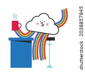 cute lgbtq cloud character with ... | Shutterstock .eps vector #2038857845