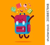 backpack character with school... | Shutterstock .eps vector #2038857848