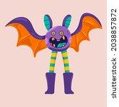 cute halloween bat vector... | Shutterstock .eps vector #2038857872