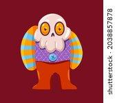 funny halloween skeleton vector ... | Shutterstock .eps vector #2038857878