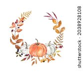 Watercolor Fall Wreath With...