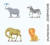 Set Of Savanna Animals In Funny ...