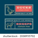 meat and poultry retro framed... | Shutterstock .eps vector #2038955702