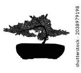 bonsai tree black silhouette on ... | Shutterstock .eps vector #2038979198