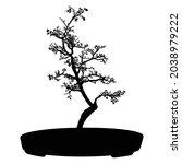 bonsai tree black silhouette on ... | Shutterstock .eps vector #2038979222